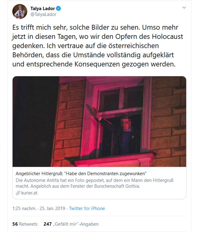 FB-Posting von Taya Lador, israelische Botschafterin in Wien