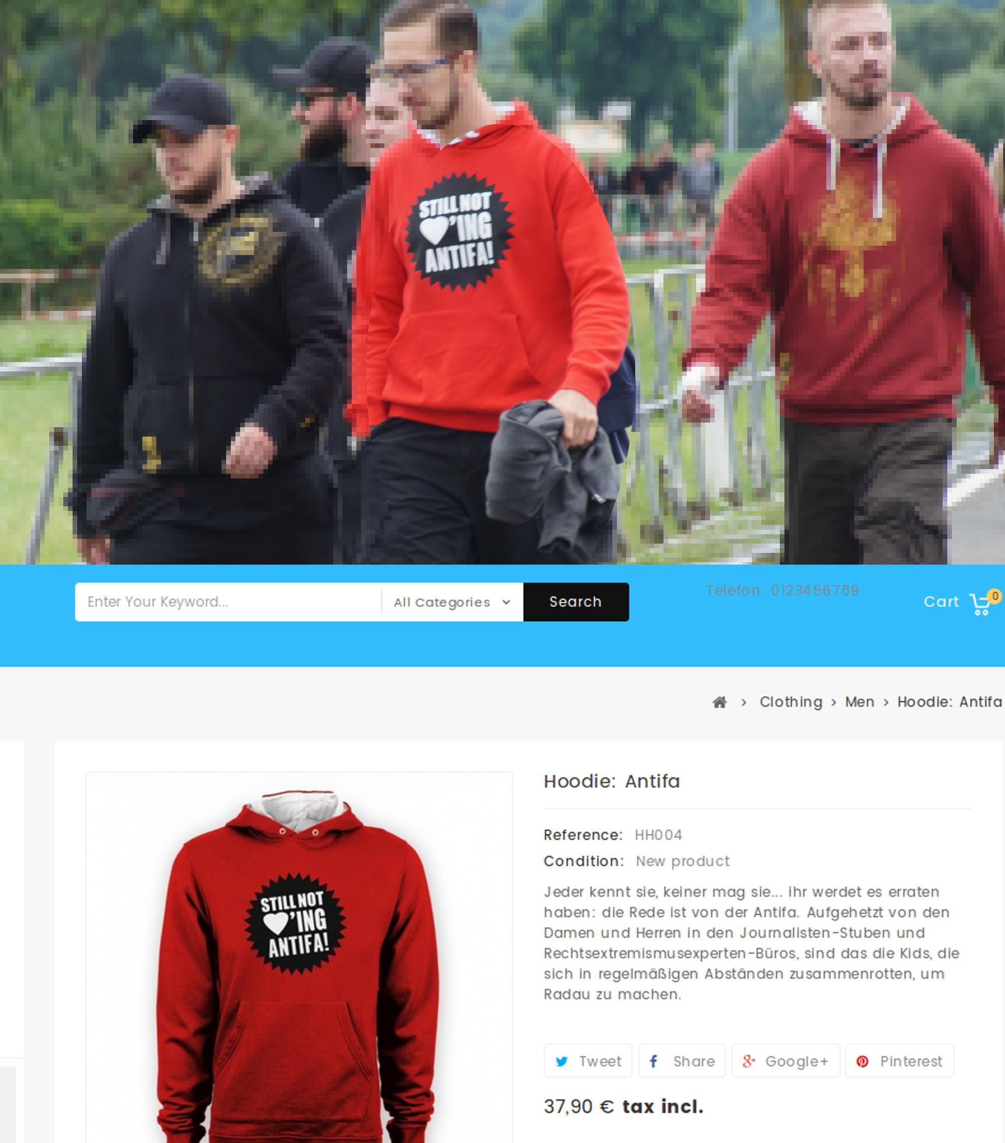 """Beispielfoto für die zunehmende Verbreitung von Merchandise aus dem """"Phalanx Europa""""-Versand - oben ein Foto von Themar im Juli 2017, unten der Pulli im Angebot des Phalanx-Versands"""