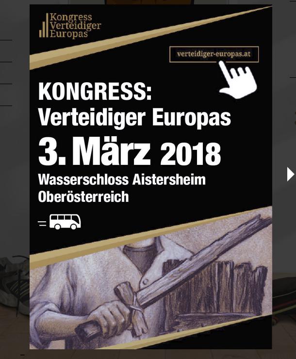"""Rückblick uaf der Tigurina-Website: Werbung für Kongress """"Verteidiger Europas"""""""