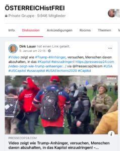 """FB-Coronaleugner-Gruppe, Dirk L.: """"Österreichistfrei"""": """"Trumpanhänger versuchen, Menschen davon abzuhalten, ins Kapitol einzudringen"""""""
