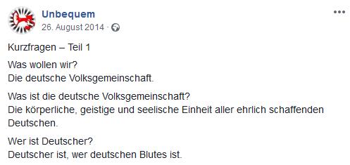 """""""Unbequem:"""" Deutsche Volksgemeinschaft (26.8.14)"""