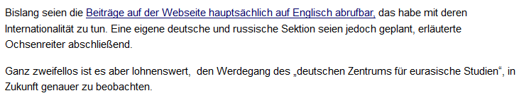 """""""unzensuriert"""" über Ochsenreiters Institut"""