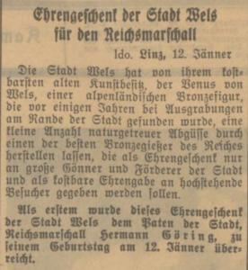 Salzburger Volksblatt am 13. Januar 1941: Venus von Wels als Geburtstagsgeschenk für den Reichsmarschall Hermann Göring