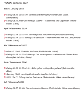 """aus dem Veranstaltungskalender der """"Ferialverbindung Reich"""""""
