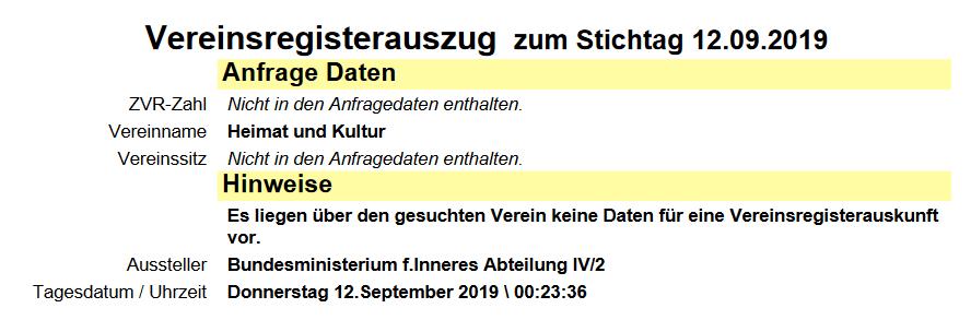 """Verein """"Heimat und Kultur"""" ist nicht existent"""