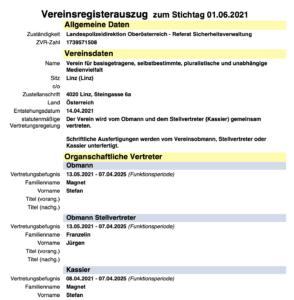 """Vereinsregisterauszug """"Verein für basisgetragene, selbstbestimmte, pluralistische und unabhängige Medienvielfalt"""": Obmann und Kassier Magnet, Vize-Obmann Franzelin"""