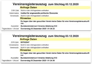 """Abfrage Vereinsregister: kein Treffer für """"Institut für angewandte politische Ökonomie"""""""