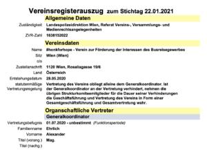 "Vereinsregisterauszug ""hopeforhonk"""
