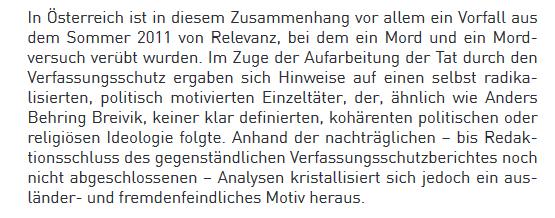 """Verfassungsschutzbericht 2011 zum """"Breivik von Traun"""""""