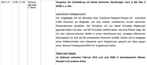 """Verhandlungskalender Wr. Neustadt: """"Vergehen der Gutheißung mit Strafe bedrohter Handlungen nach § 282 Abs 2 StGB u.a. Del."""