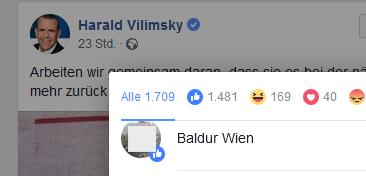 """Ein Like von """"Baldur Wien"""" für Harald Vilimsky"""