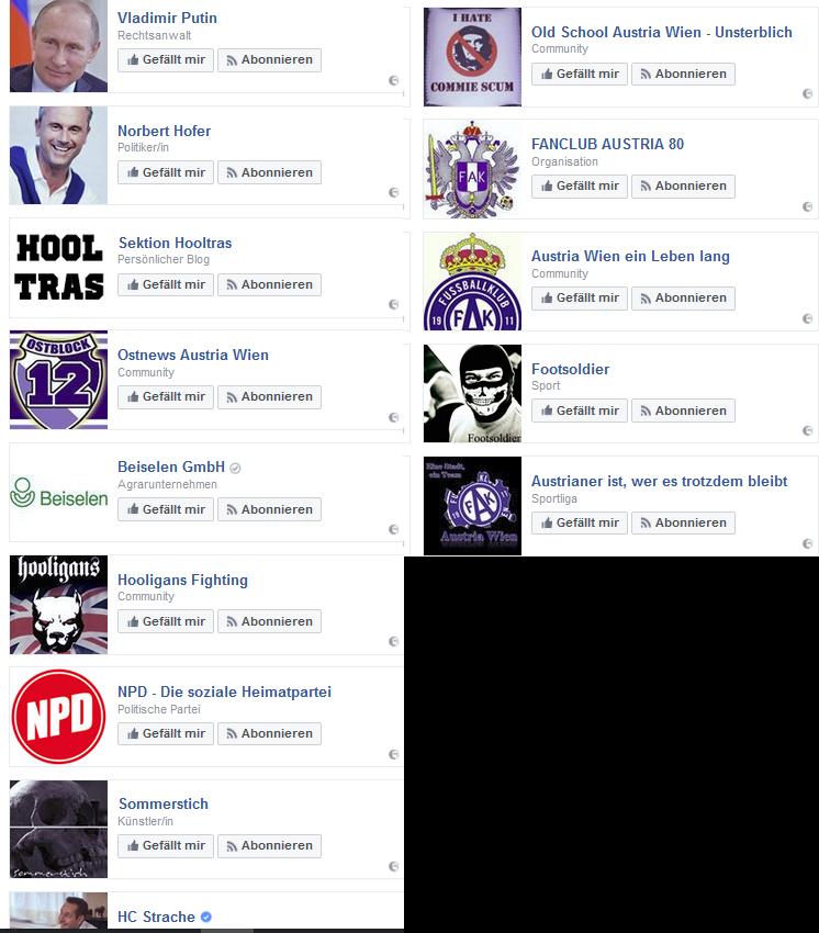 """Die OÖN vermeldet, die problematischen Likes wären """"vom Facebook-Profil entfernt"""" - ein aktueller Screenshot sagt was anderes."""