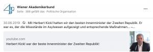 """""""Kerbert Kickl war der beste Innenminister der Zweiten Republik"""", befindet auf der WAB"""