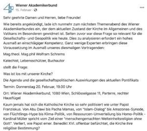 """WAB-Vortrag: Wolfram Schrems u.a. zur """"Homo-Politik"""" der Kirche"""