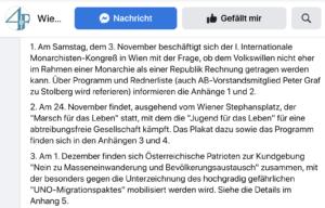 """WAB im November 2018: Monarchistenkongress, Marsch für das Leben, """"Nein zu Masseneinwanderung und Bevölkerungsausstausch"""""""