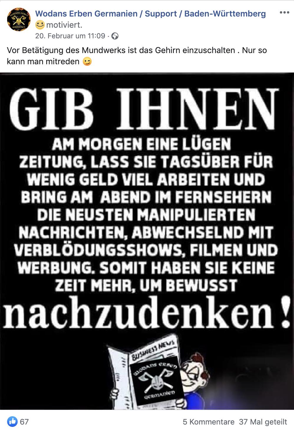 """Wodans-Erben-Posting am Tag nach Hanau: """"Gib ihnen am Morgen eine Lügenzeitung ..."""" mit Likes aus Österreich"""