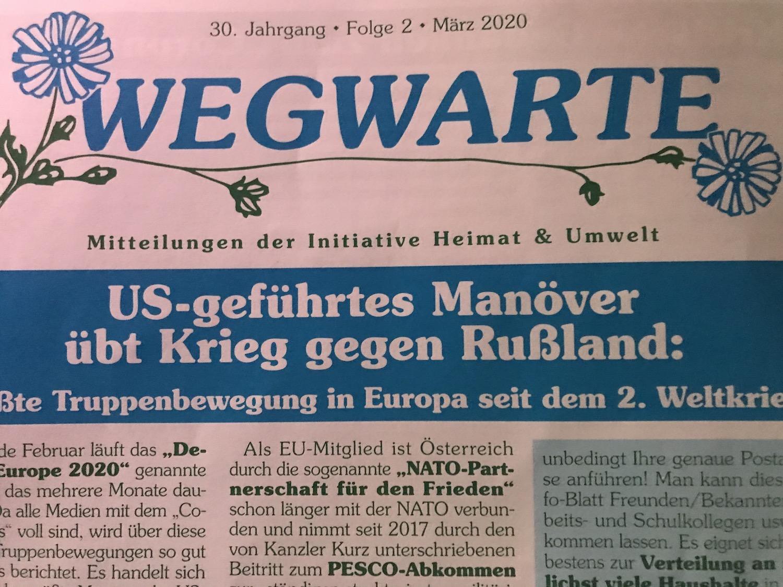 "Cover ""Wegwarte"" März 2020"