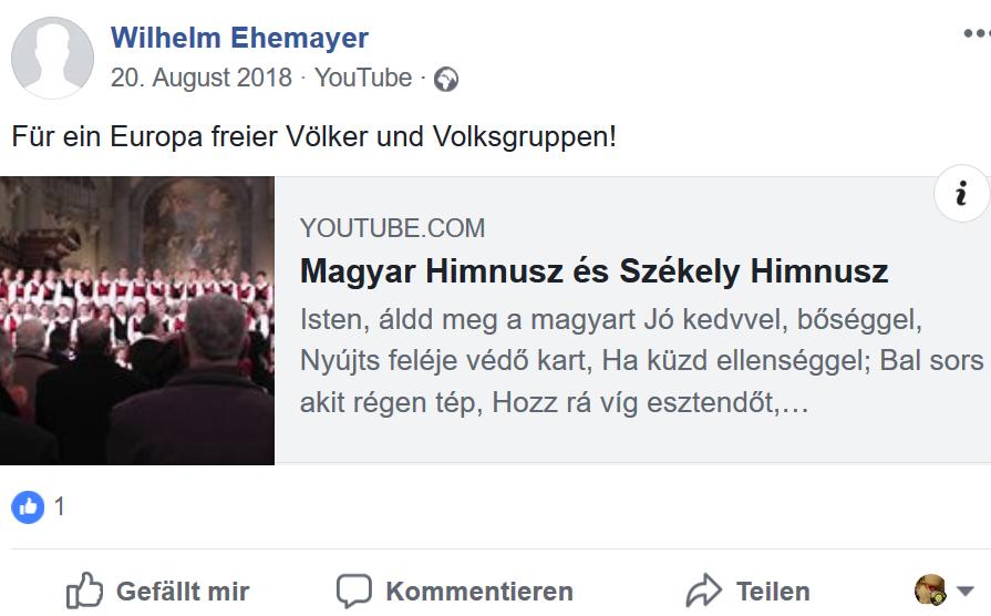 Wilhelm Ehemayer: Für ein Europa freier Völker