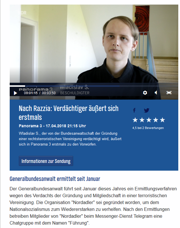 Wladislav S. im Panorama-Interview(Screenshot NDR)
