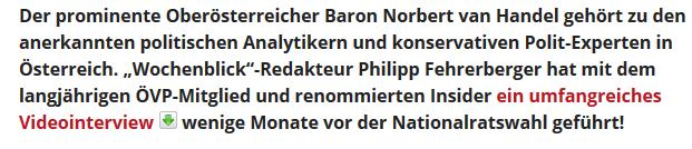 """Interview im """"Wochenblick"""" mit """"Baron von Handel"""""""
