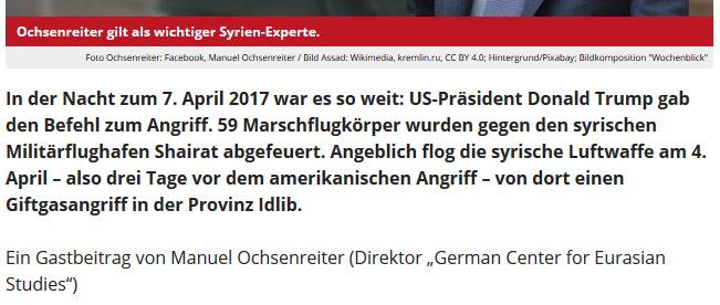 """Ochsenreiter luat Wochenblick ein """"wichtiger Syrien-Experte"""""""