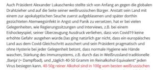 Wochenblick lobt Lukaschenko bzgl. Corona-Maßnahmen und empfiehlt Sauna und Alkohol