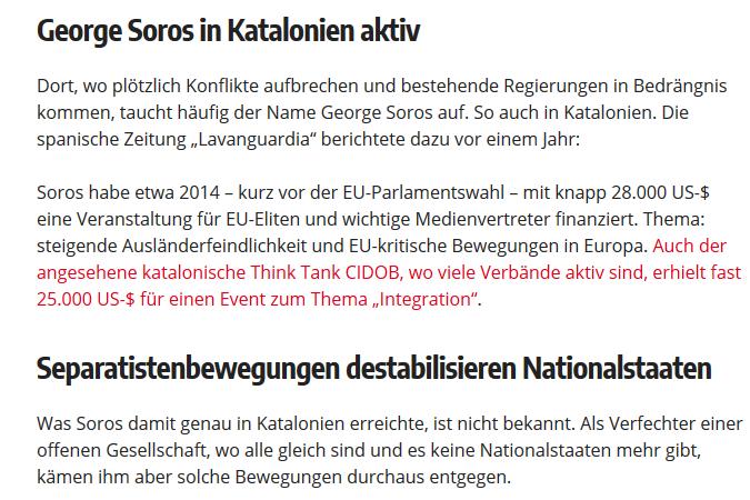 Wochenblick: Soros in Katalonien aktiv