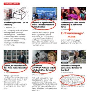 Startseite Wochenblick 22.9.21 (1): FPÖ-Werbung & Corona-Unsinn