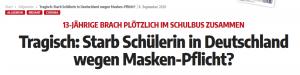 """Wochenblick verbreitet Fake-News: """"Starb Schülerin in Deutschland wegen Masken-Pflicht?"""""""