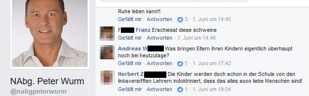 """""""Erschießt diese Schweine"""" postete jemand in die Timeline des FPÖ-Abgeordneten wo es mehr als eine Woche belassen wurde."""