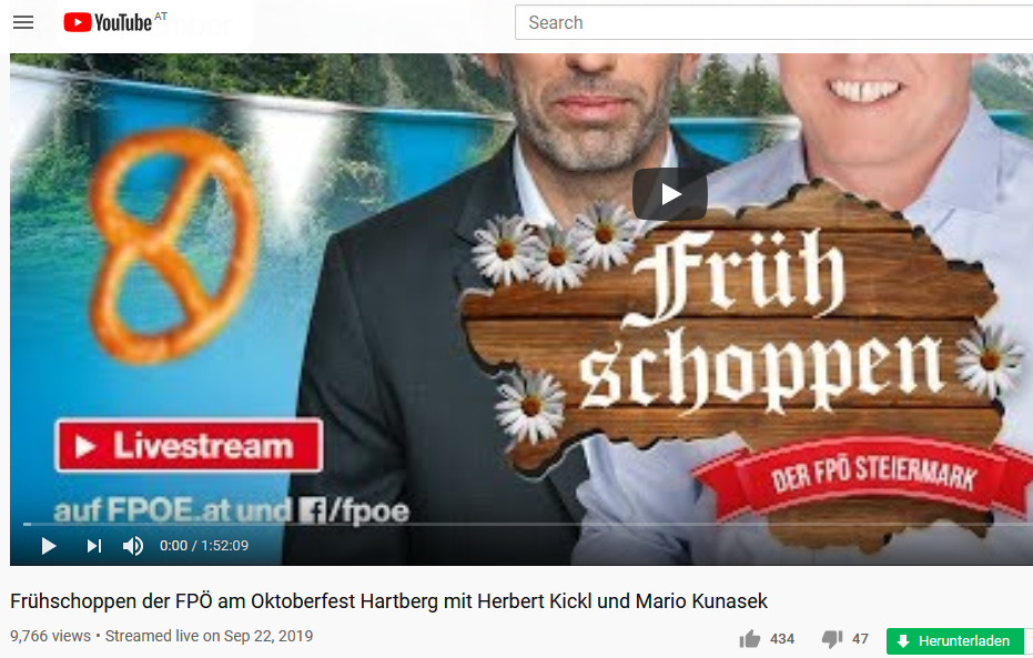 YouTube FPÖ TV Hartberg, 22.9.19