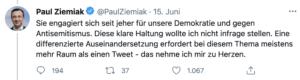"""Ziemiak: """"Eine differenzierte Auseinandersetzung erfordert bei diesem Thema meistens mehr Raum als einen Tweet - das nehme ich mir zu Herzen."""""""
