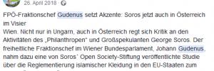 """""""Zuerst!"""": Lob für antisemitische Kampagne von Gudenus (Screenshot Facebook)"""