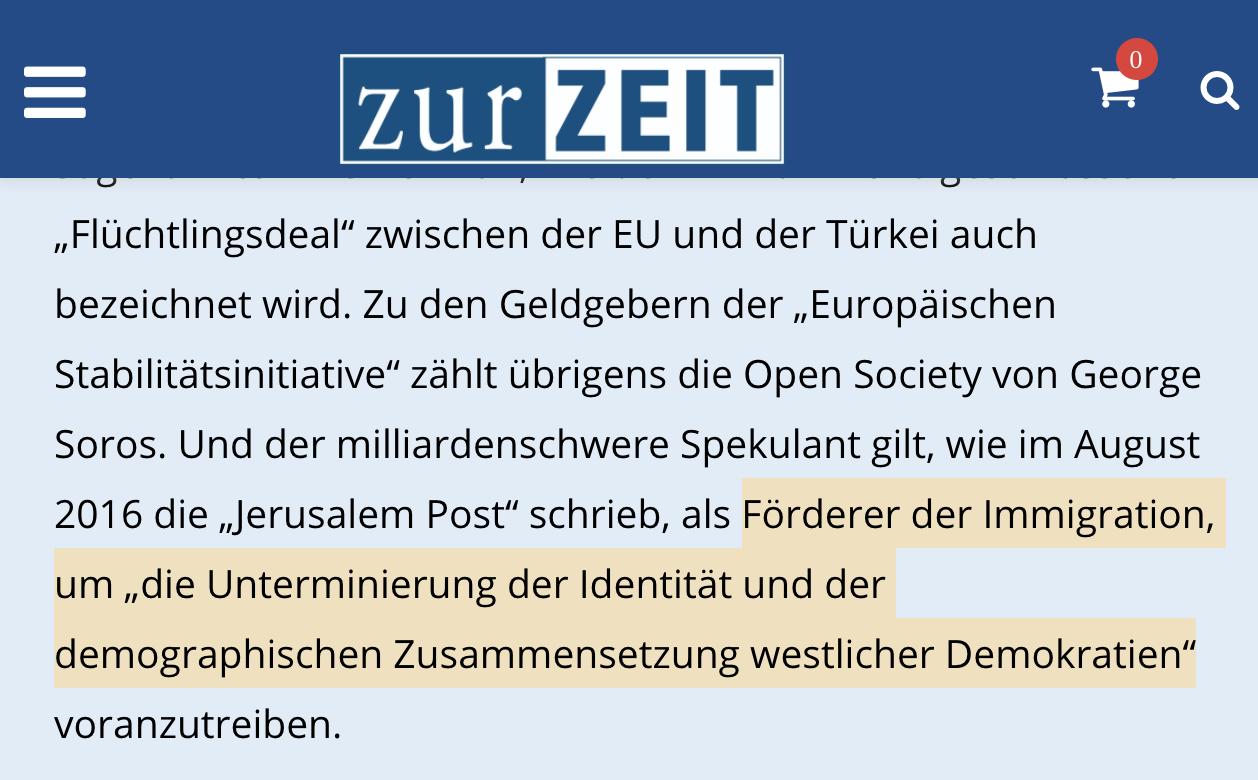 """""""Zur Zeit"""" über George Soros als """"Förderer der Immigration"""""""