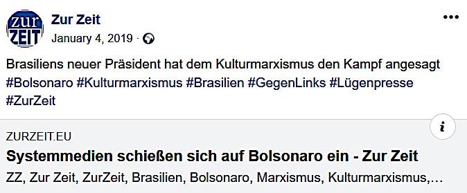 """ZZ rückt zur Bolsanaro-Verteidigung gegen die """"Lügenpresse"""" und """"Systemmedien"""" aus"""