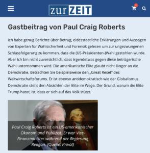 """""""Zur Zeit""""-Gastbeitrag des Holocaustleugners Paul Craig Roberts"""