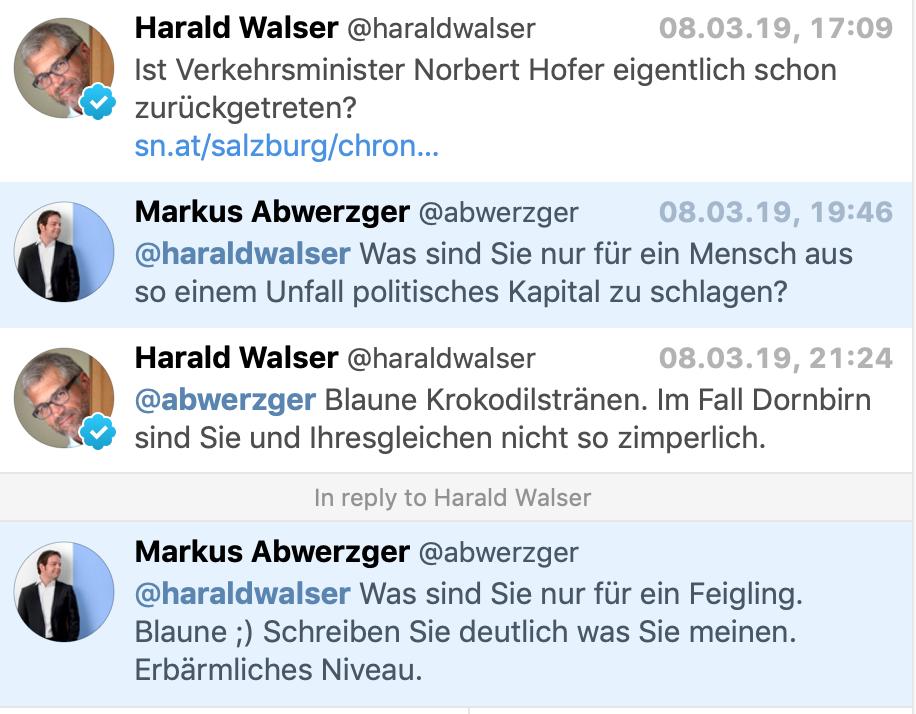 Twitter-Schlagabtausch Walser – Abwerzger