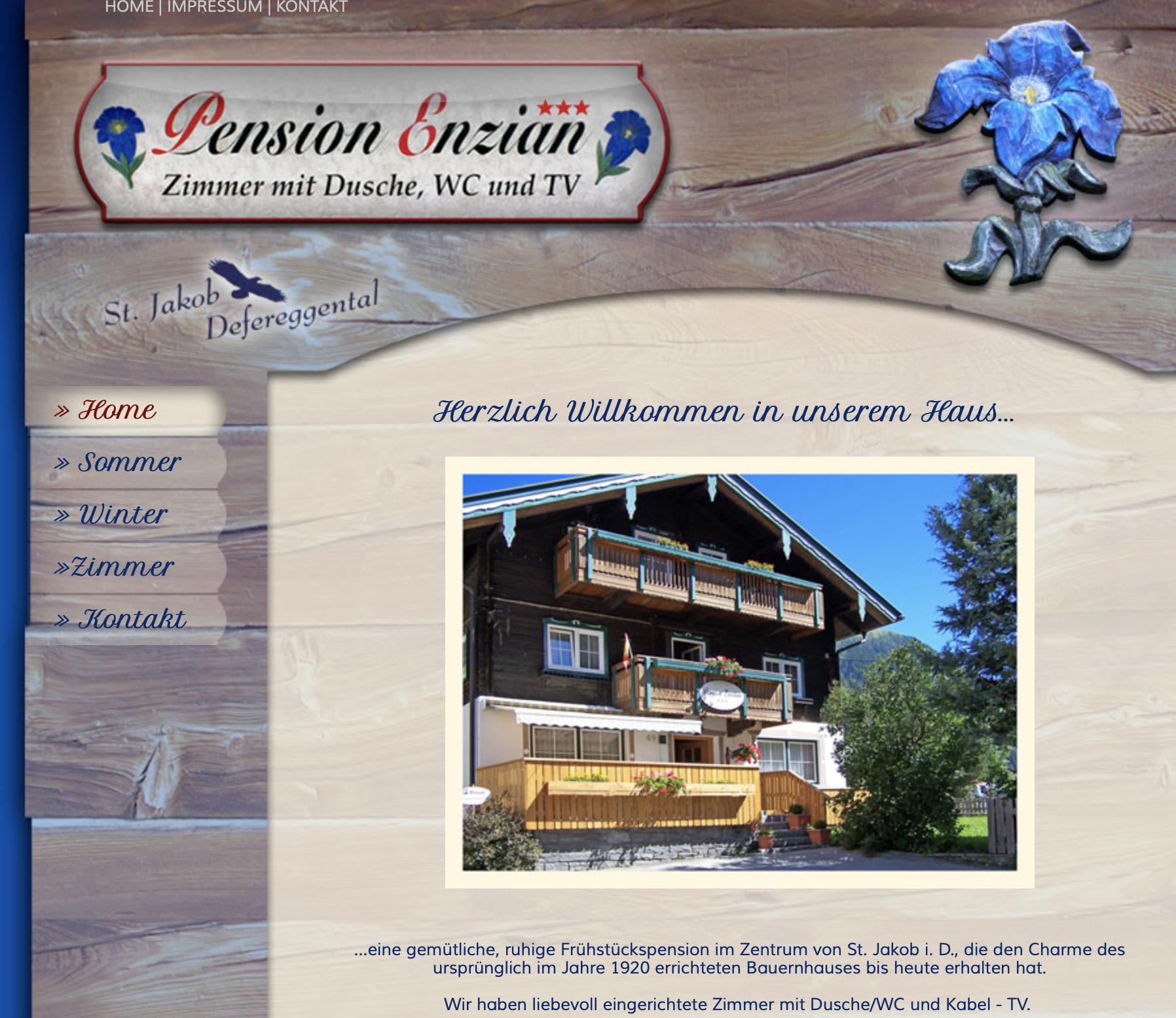 """Alte Website der """"Pension Enzian"""" in St. Jakob"""