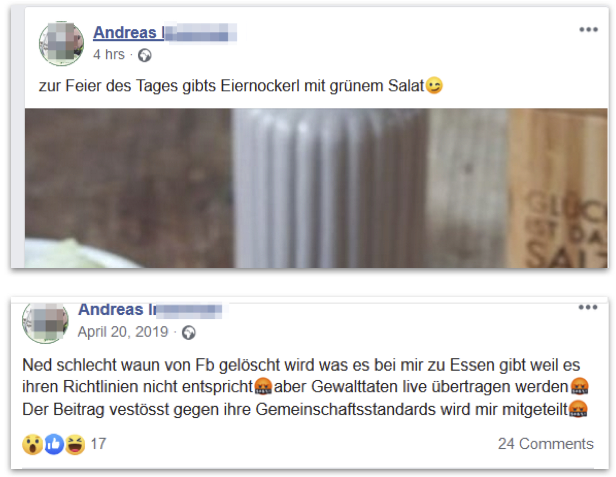Andreas I. Eiernockerl 2019 und 2020: Eiernockerl 2019 von FB gelöscht