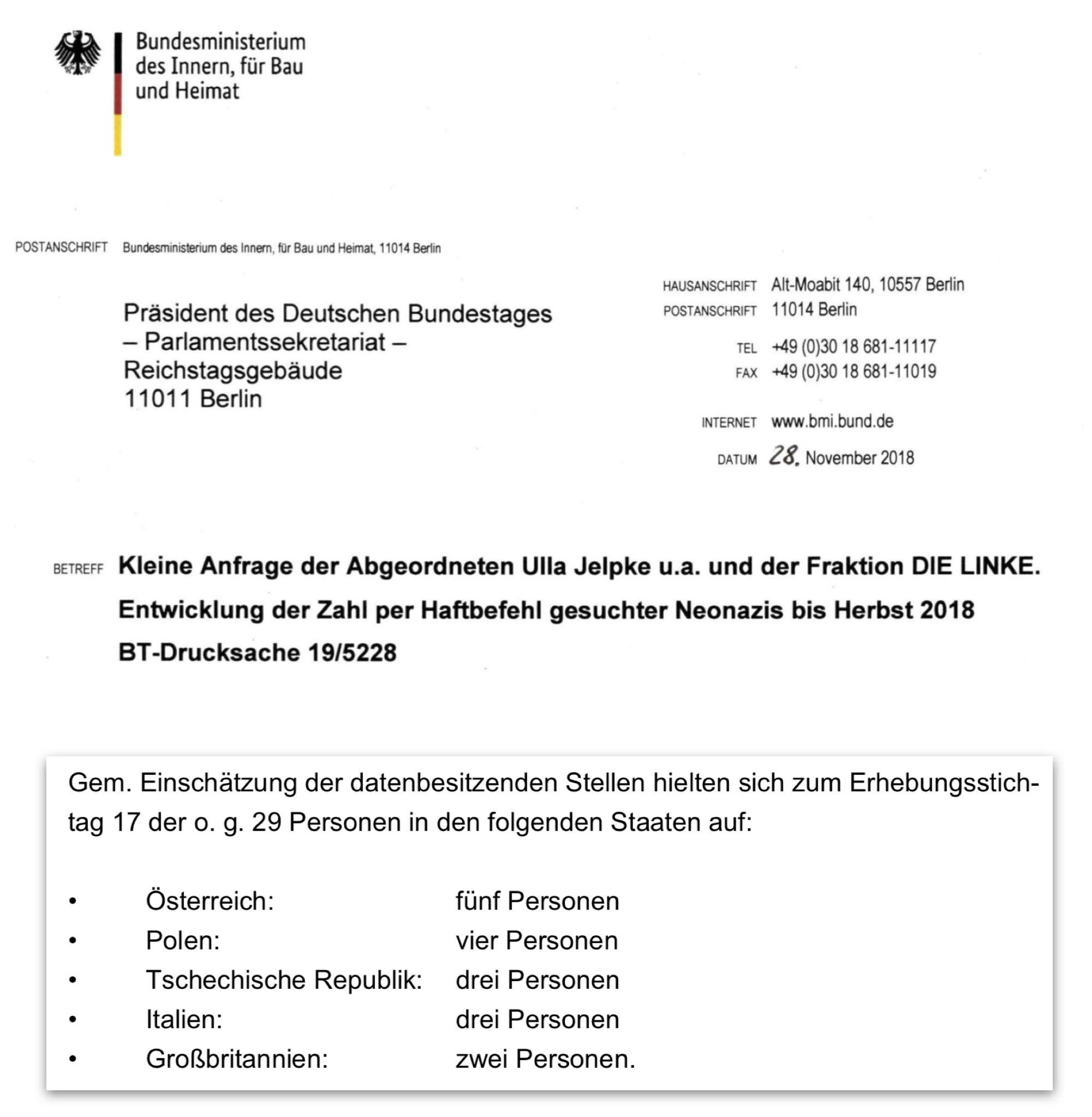 Kleine Anfrage der Abgeordneten Ulla Jelpke u.a. und der Fraktion DIE LINKE. Entwicklung der Zahl per Haftbefehl gesuchter Neonazis bis Herbst 2018