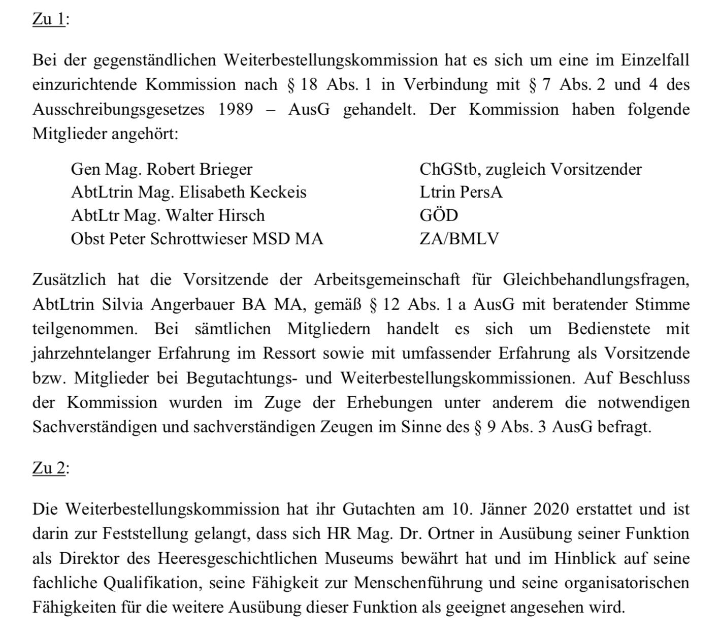 Anfragebeantwortung zur Weiterbestellungskommission HGM-Direktor Ortner