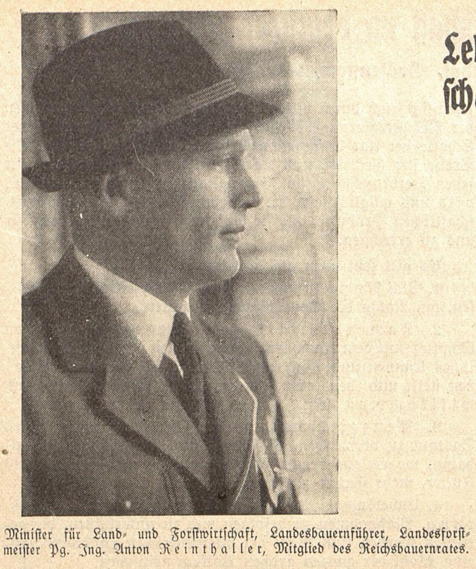 1. FPÖ-Parteiobmann Anton Reinthaller (Foto Landheimat 2.4.1938)