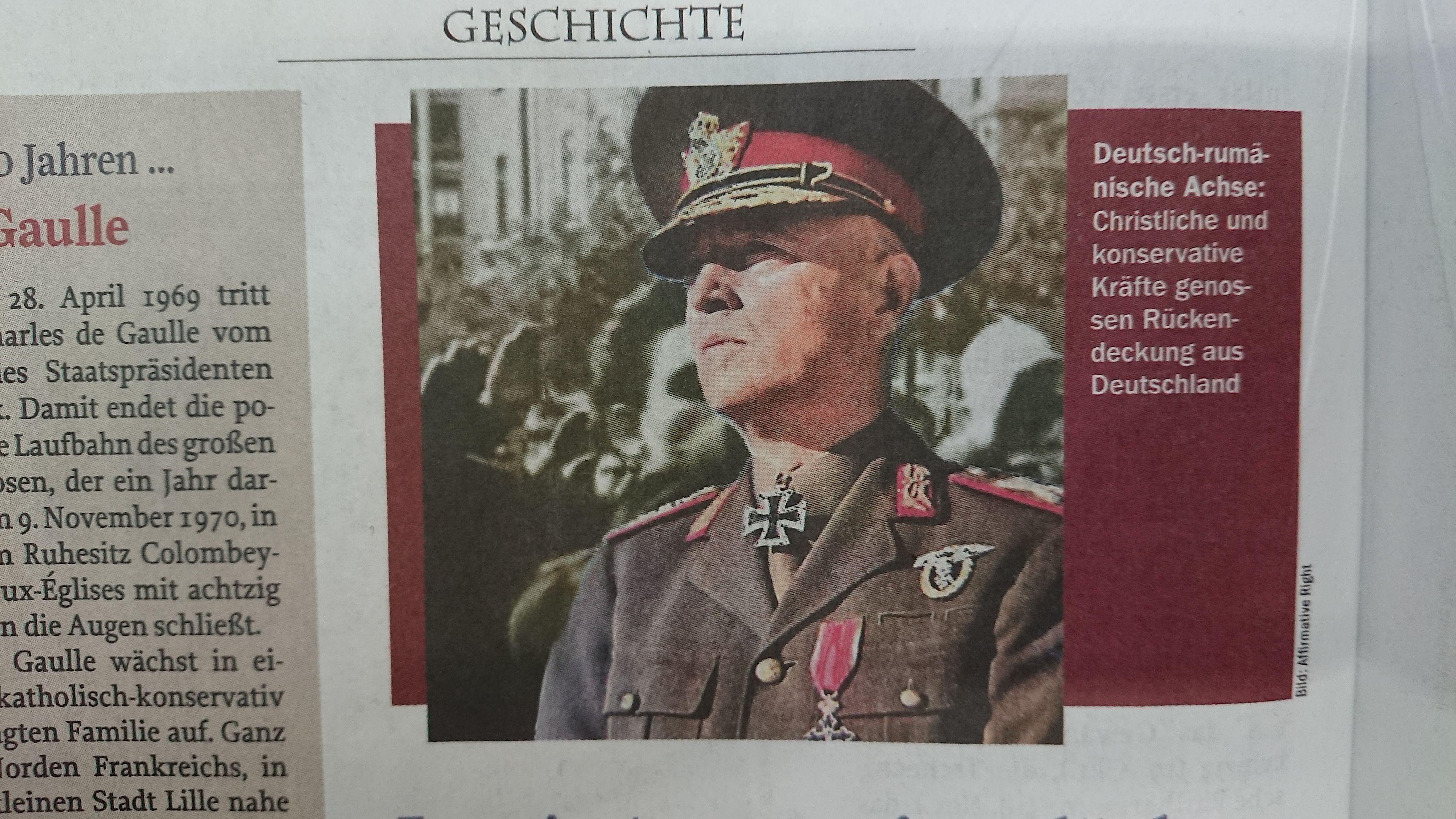 """Bild von Antonescu aus """"Affirmative Right"""" (Zur Zeit, 15/2019)"""