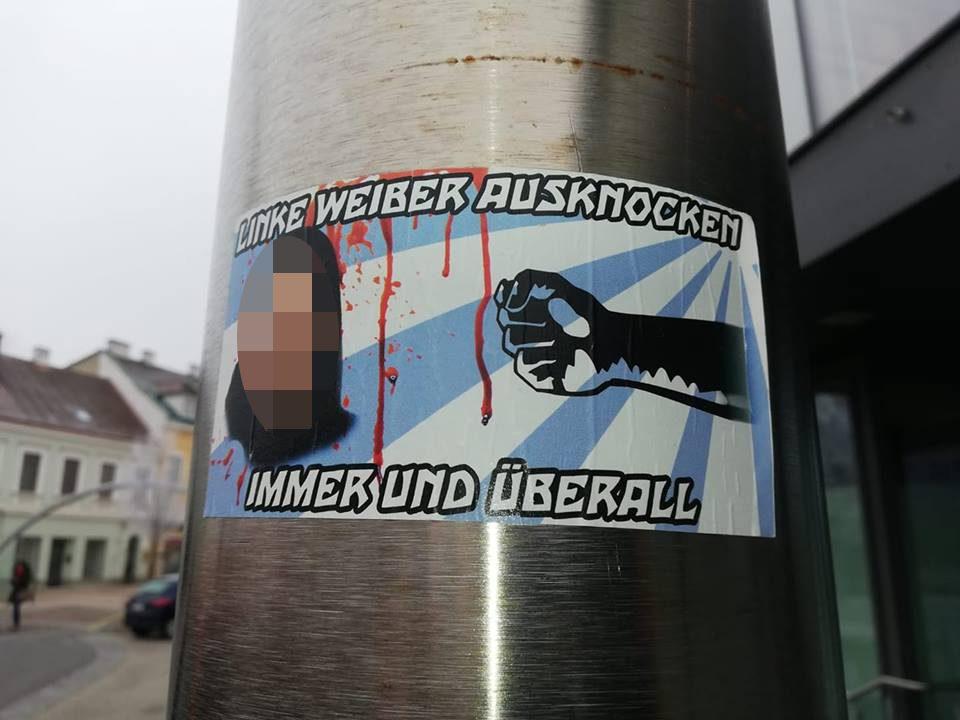 Aufkleber in Bruck/Leitha (Foto via Twitter @reginapetrik)