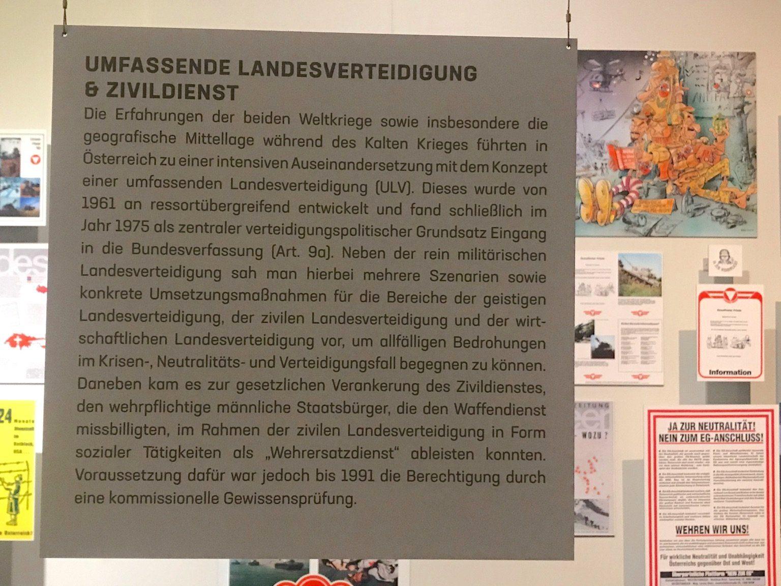 """Erklärtafel zum Komplex """"Umfassende Landesverteidigung und Zivildienst"""""""