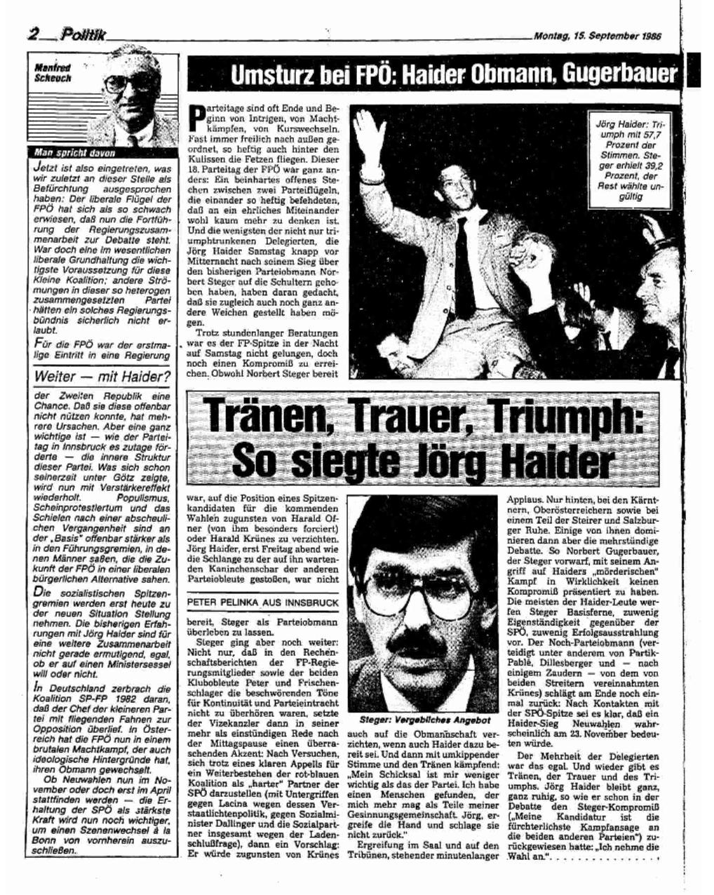 """Arbeiter Zeitung 15.9.1986: """"Tränen, Trauer, Triumph: So siegte Jörg Haider"""""""