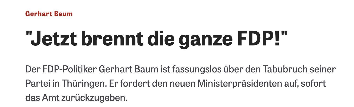 """Gerhard Baum: """"Jetzt brennt die ganze FDP!"""" (Die Zeit)"""
