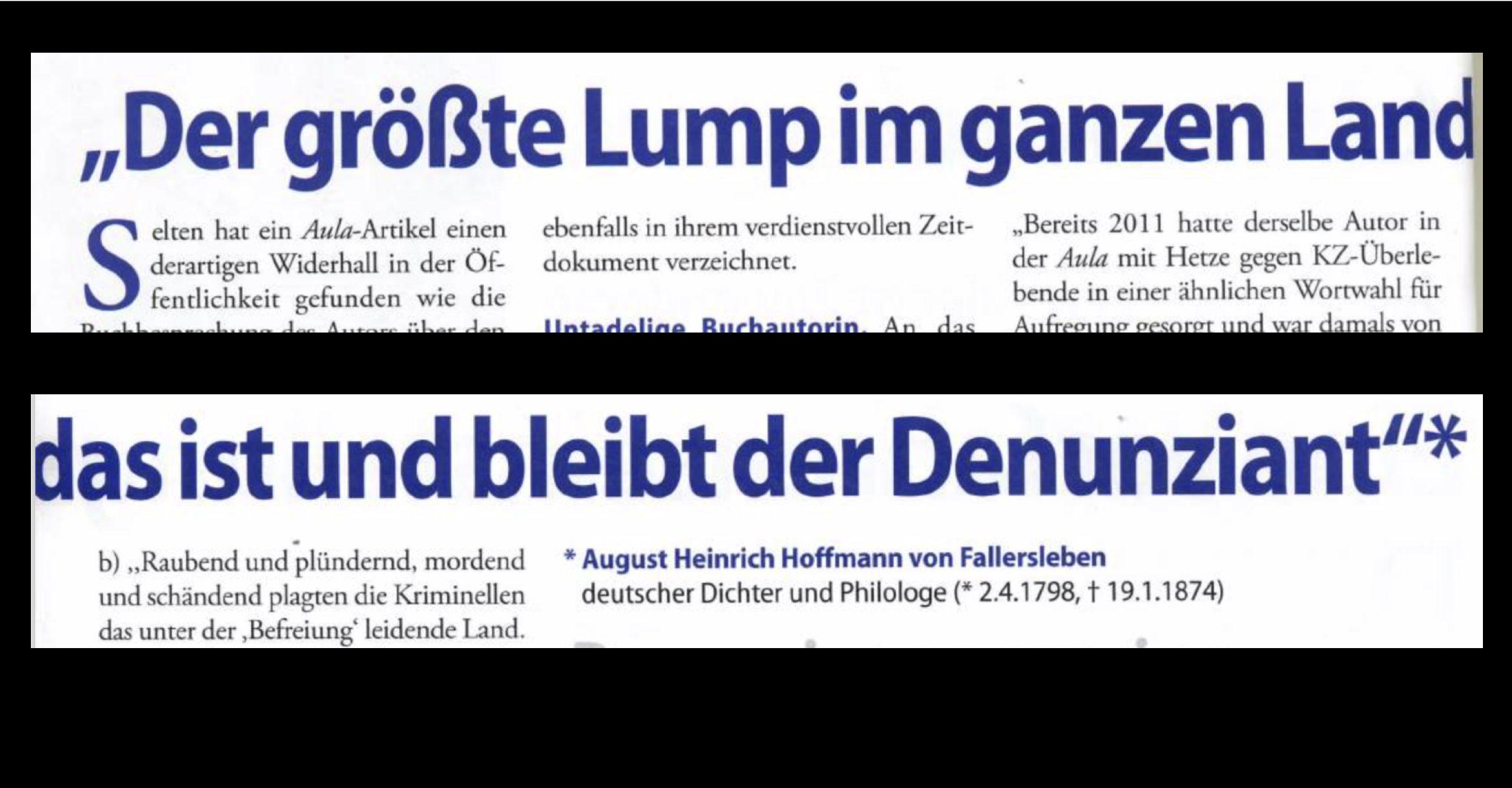 """Aula-Artikel Febr. 2016, in dem die diffamierenden Zitate zu den KZ-Überlebenden wortwörtlich wiederholt und der ehemalige Grüne Abgeordnete Harald Walser u.a. als """"Lump"""" beschimpft wurde."""