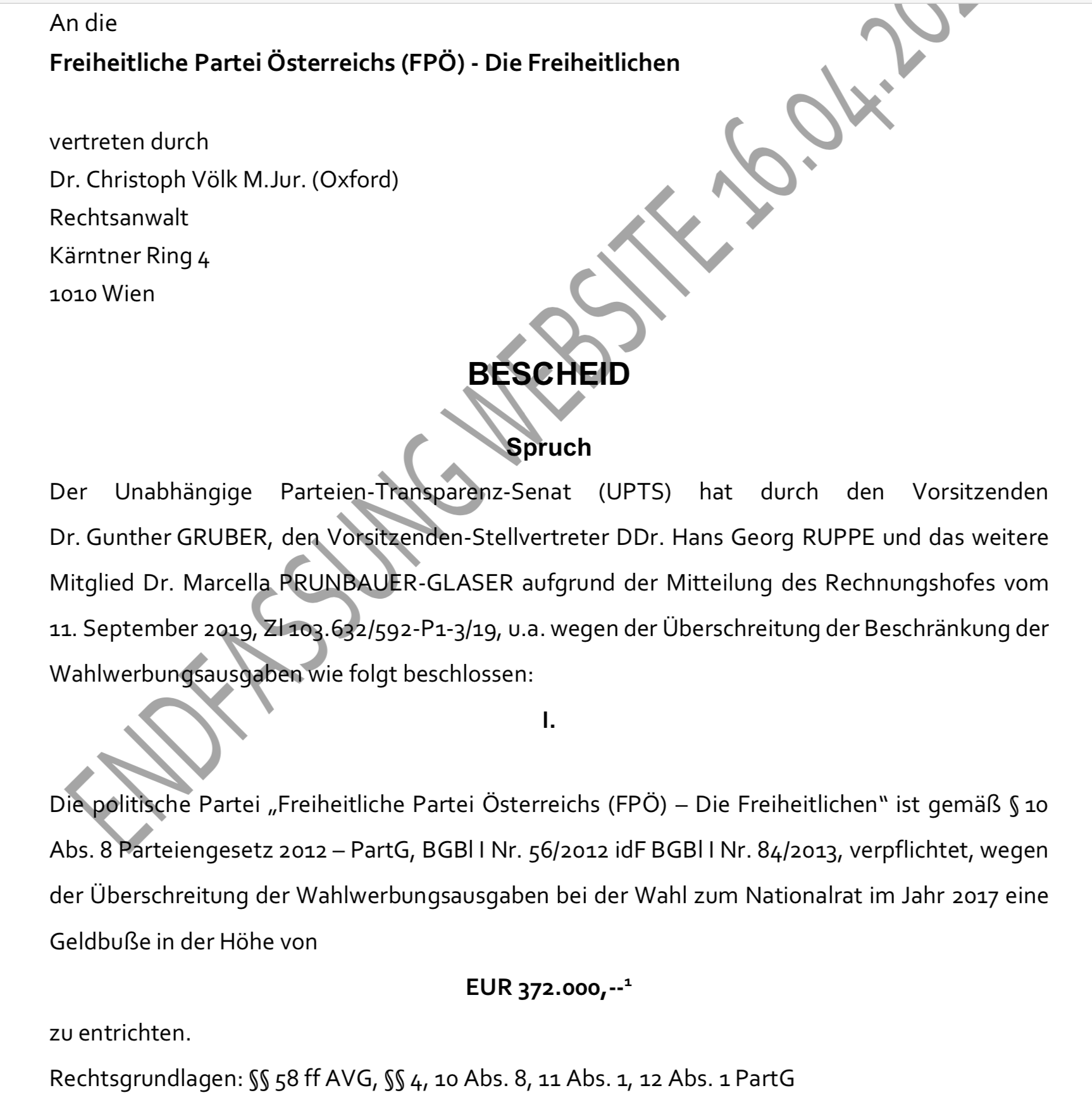 Bescheid des UPTS zur Strafzahlung der FPÖ