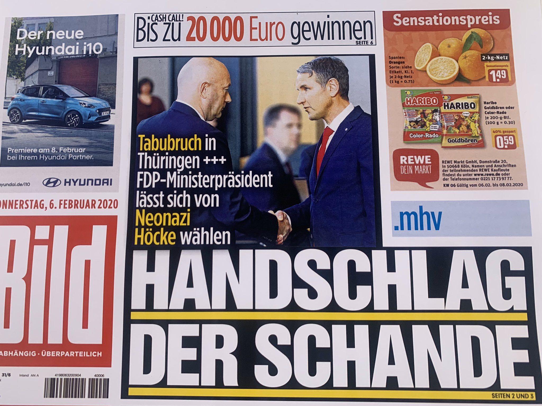 """Aufmacher Bild-Zeitung am 6.2.20: """"Tabubruch in Thüringen +++ FDP-Ministerpräsident lässt sich von Neonazi Höcke wählen. Handschlag der Schande"""""""